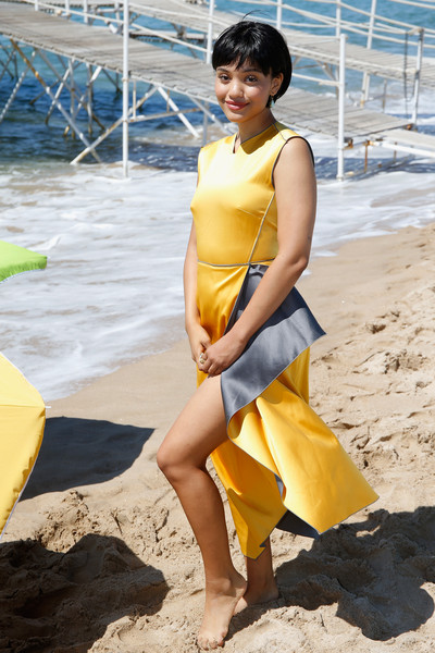 Kiersey Clemons Cocktail Dress [dope photocall,yellow,clothing,beauty,summer,leg,fashion,fun,vacation,thigh,textile,kiersey clemons,photocall,cannes,france,dope,cannes film festival]