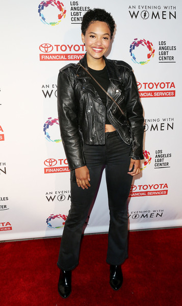 Kiersey Clemons Bootcut Jeans [evening with women benefitting the los angeles,clothing,leather,jacket,leather jacket,outerwear,textile,carpet,event,premiere,style,kiersey clemons,los angeles,lgbt center,california,hollywood palladium,lgbt center - arrivals,an evening with women benefiting]