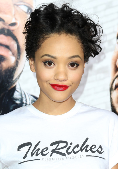 Kiersey Clemons Short Curls [ride along,hair,face,hairstyle,eyebrow,lip,black hair,forehead,chin,beauty,skin,kiersey clemons,universal pictures ride along,california,hollywood,tcl chinese theatre,universal pictures,premiere,premiere]