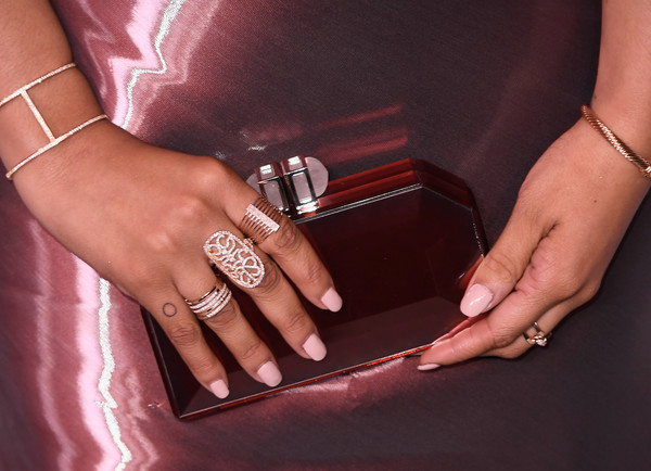 Kiersey Clemons Artistic Design Tattoo [nail,finger,nail care,manicure,hand,ring,pink,cosmetics,nail polish,engagement ring,women,kiersey clemons,harper,fashion detail,partnership,harpers bazaar celebrates 150 most fashionable women - arrivals,bazaar,tumi,american express,celebration]