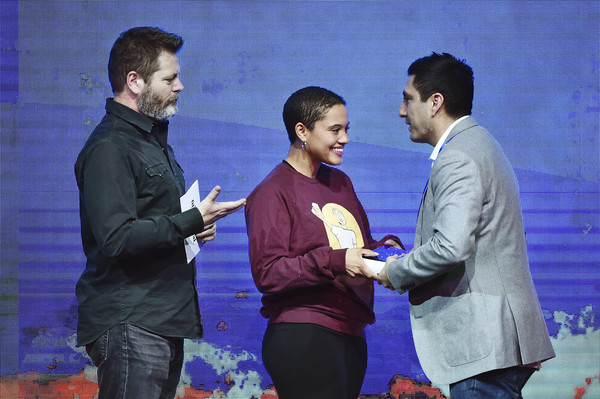Kiersey Clemons Crewneck Sweater [event,youth,design,interaction,fun,performance,conversation,gesture,ceremony,rudy valdez,r,nick offerman,kiersey clemons,audience award,\u00f2the sentence\u00f3,u.s.,basin recreation field house,utah,sundance film festival - awards night ceremony]