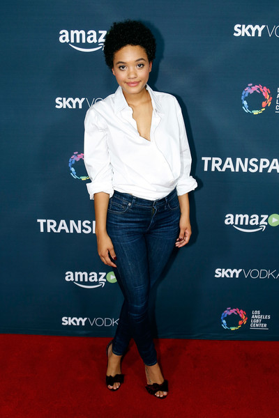 Kiersey Clemons Wrap Top [season,clothing,carpet,premiere,footwear,waist,leg,jeans,electric blue,event,denim,arrivals,transparent,kiersey clemons,silverscreen theater,west hollywood,california,amazon,premiere,premiere]