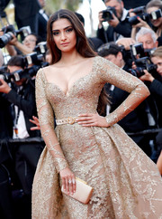 Sonam Kapoor's nude satin clutch and gold ball gown at the Cannes Film Festival premiere of 'The Killing of a Sacred Deer' were an ultra-glam pairing!