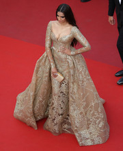 Sonam Kapoor looked absolutely grand in a gold princess gown by Elie Saab Couture at the Cannes Film Festival premiere of 'The Killing of a Sacred Deer.'