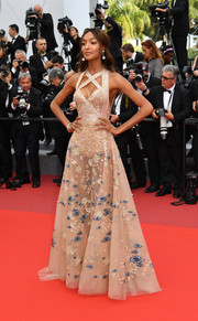 Jourdan Dunn was equal parts naughty and nice in a sheer, beaded gown by Elie Saab Couture at the Cannes Film Festival premiere of 'The Killing of a Sacred Deer.'