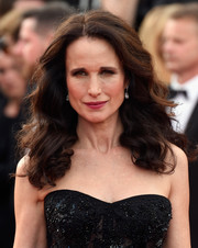 Andie MacDowell opted for classic center-parted curls when she attended the Cannes Film Festival premiere of 'The Killing of a Sacred Deer.'