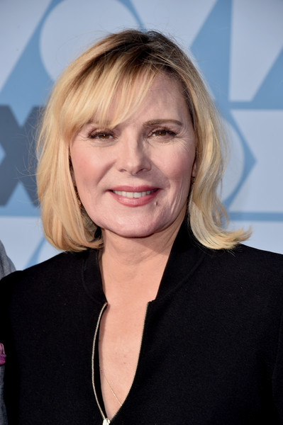 Kim Cattrall Mid-Length Bob [hair,face,hairstyle,blond,chin,layered hair,smile,official,feathered hair,premiere,all-star party - arrivals,kim cattrall,los angeles,california,fox summer tca,fox studios,all-star party]