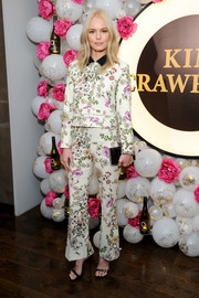 Kate Bosworth went for some '70s-inspired power dressing with this floral pantsuit by Giambattista Valli at the Kim Crawford Wines event.