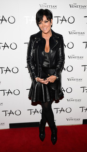 Kris Jenner looked totally edgy all the way down to her black mid-calf boots.