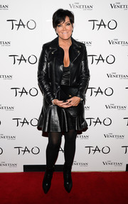 Kris Jenner wasn't about to be outdone by her daughters, rocking this leather-on-leather jacket and dress combo during Kim's birthday party.