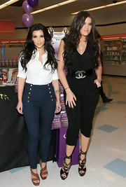Kim touched on the nautical trend with a pair of high-waisted, sailor-inspired jeans.