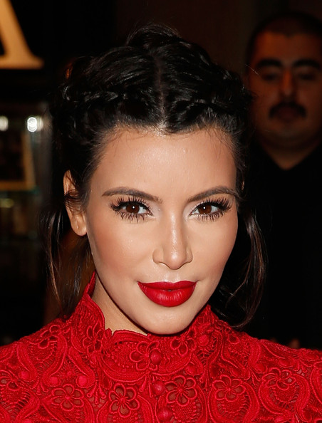 Kim Kardashian Braided Updo [eyebrow,hair,lip,beauty,hairstyle,fashion model,chin,eyelash,fashion,forehead,kim kardashian,perfume,fan meet-and-greet,kardashian khaos store,the mirage,store,nevada,las vegas,glam]