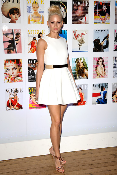 Kimberly Wyatt Cocktail Dress [the vogue festival 2012,clothing,white,dress,fashion,cocktail dress,fashion model,hairstyle,yellow,footwear,shoulder,arrivals,kimberly wyatt,association,vertu - cocktail party,england,london,vertu,vogue festival 2012,cocktail party]