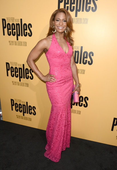 Kimrie Lewis-Davis Halter Dress [lionsgate film,peeples,clothing,dress,shoulder,premiere,cocktail dress,fashion,gown,carpet,pink,fashion model,red carpet,kimrie lewis-davis,tyler perry,arclight hollywood,california,tyler perry presents the premiere of ``peeples,premiere]