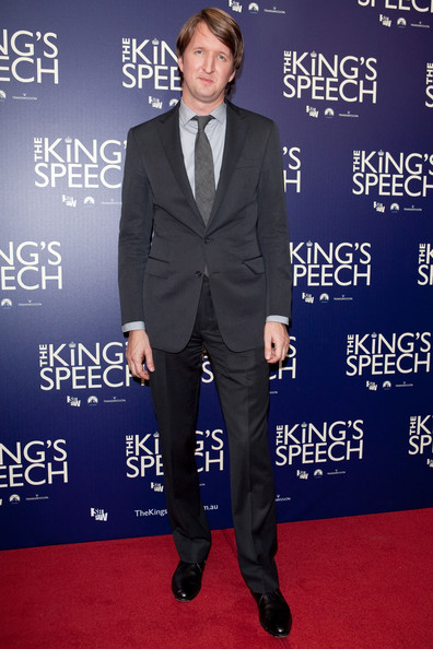 Tom Hooper attended the premiere of 'The King's Speech' in a classic suit and matching tie.