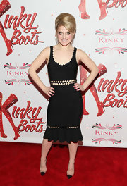 Annaleigh Ashford opted for a sexy LBD with a scalloped neckline and diamond-shaped cutouts at the waist.