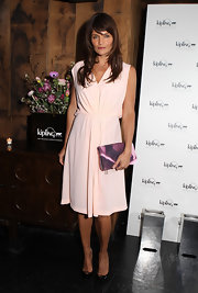 Helena Christensen looked completely effortless in this chic pastel pink frock.