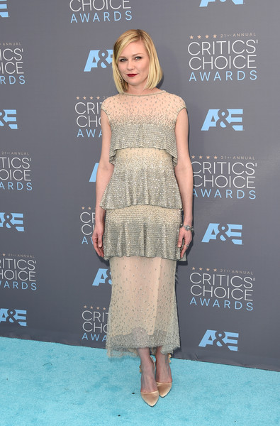 Kirsten Dunst Beaded Dress [flooring,fashion model,fashion,catwalk,carpet,cocktail dress,fashion show,red carpet,fashion design,joint,arrivals,kirsten dunst,critics choice awards,santa monica,california,barker hangar]