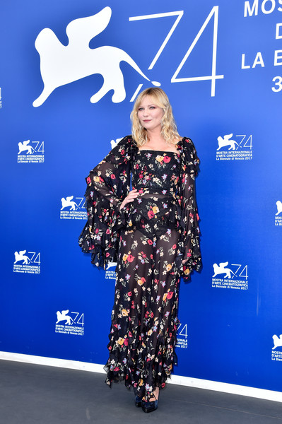 Kirsten Dunst Print Blouse [blue,flooring,fashion,fashion model,electric blue,carpet,red carpet,fashion design,product,fashion show,kirsten dunst,woodshock photocall - 74th,photocall,venice,italy,sala casino,venice film festival]