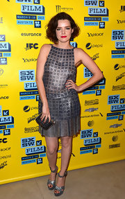 Roxane Mesquida opted for a '20s-inspired dress with this silver mesh dress with pleated skirt.