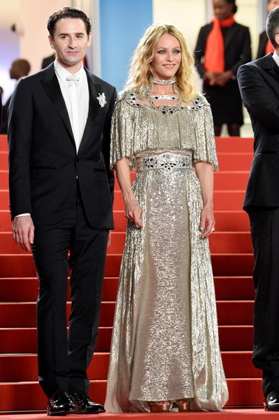 Vanessa Paradis glimmered in a gold Chanel gown with a cutout neckline at the Cannes Film Festival screening of 'Knife + Heart.'