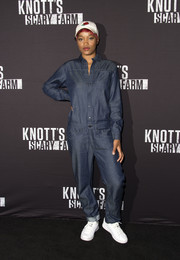 Keke Palmer kept it cool and comfy in a denim jumpsuit by G-Star at the Knott's Scary Farm Black Carpet Party.