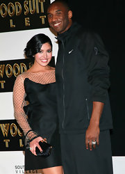 Vanessa Bryant completed her ultra-chic ensemble at Kobe's hand and footprint ceremony with a black satin hard-case clutch.