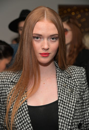 Larsen Thompson wore ultra-long center-parted tresses at the Kooples and Emily Ratajkowski LA cocktail event.