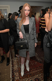 Larsen Thompson was business-glam in a monochrome tweed skirt suit at the Kooples and Emily Ratajkowski LA cocktail event.