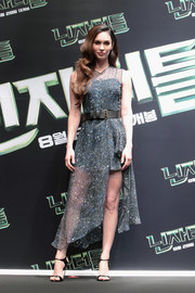 Megan Fox chose a pair of black ankle-strap sandals by Giuseppe Zanotti to polish off her look.