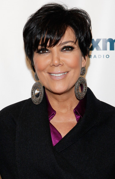 Kris Jenner Messy Cut [kris jenner,hair,hairstyle,eyebrow,black hair,beauty,chin,bob cut,lip,layered hair,bangs,new york city,siriusxm,siriusxm studio]