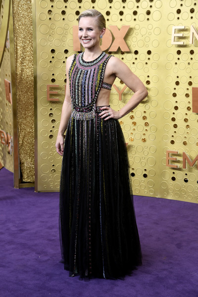 Kristen Bell Beaded Dress [clothing,dress,gown,formal wear,fashion,a-line,haute couture,fashion design,carpet,arrivals,kristen bell,emmy awards,microsoft theater,los angeles,california]