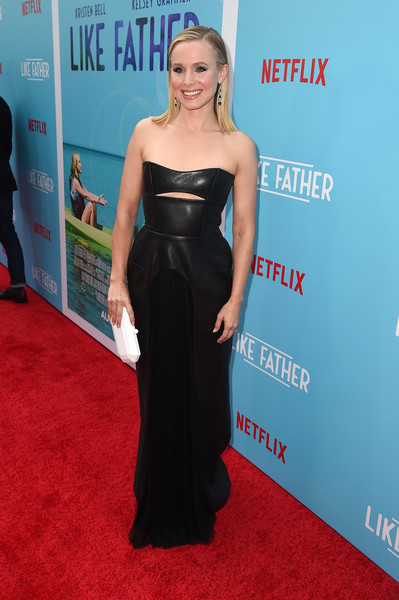 Kristen Bell Leather Dress [like father,dress,clothing,red carpet,carpet,shoulder,strapless dress,premiere,hairstyle,gown,fashion,red carpet,kristen bell,arclight hollywood,california,netflix,premiere,premiere]