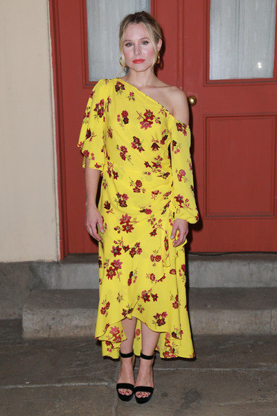 Kristen Bell Off-the-Shoulder Dress [the good place,fashion model,yellow,shoulder,fashion,dress,joint,catwalk,fashion show,runway,flooring,kristen bell,q a,fyc screening and q a,backlot,universal city,california,nbc,universal studios,fyc screening]