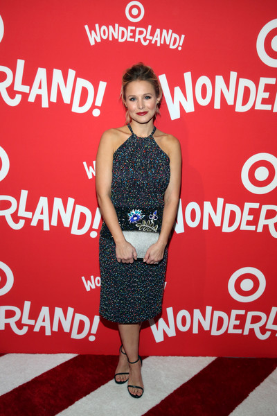 Kristen Bell Strappy Sandals [wonderland,flooring,fashion,fashion model,dress,carpet,red carpet,cocktail dress,fashion design,little black dress,girl,kristen bell,70 10th avenue,new york city,target,target wonderland,vip event,vip event]