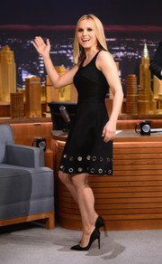 Kristen Bell looked lovely in this little black dress with two rows of silver grommets along the hem.