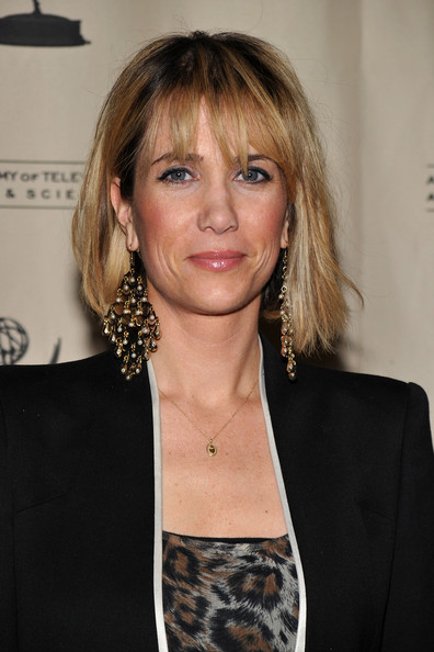 Kristen Wiig Bob [saturday night live,hair,face,hairstyle,blond,bangs,layered hair,long hair,brown hair,bob cut,feathered hair,kristen wiig,new york city,the pierre hotel,the academy of television arts sciences]