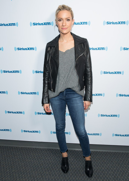 Kristin Cavallari Ankle Boots [conversations with maria,clothing,leather,jacket,fashion,jeans,textile,footwear,leather jacket,outerwear,denim,kristin cavallari talks with maria menounos,kristin cavallari,los angeles,california,siriusxm,siriusxm studios]