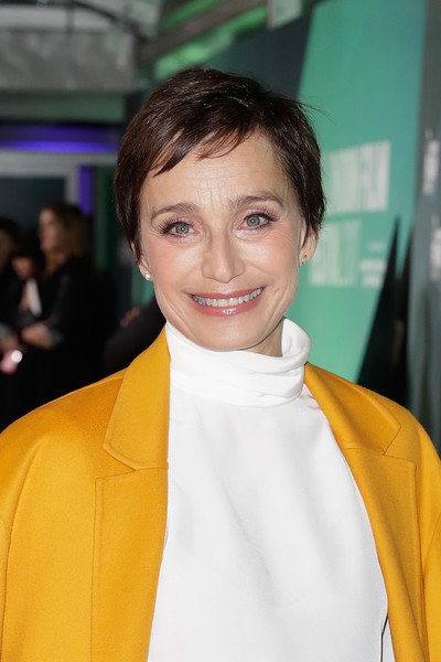 Kristin Scott Thomas Pixie [hair,hairstyle,yellow,fashion,premiere,outerwear,smile,neck,kristin scott thomas,uk,london,england,the party,premiere,bfi london film festival]