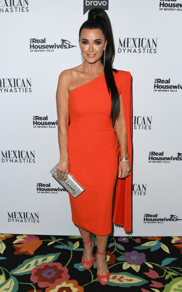 Kyle Richards Metallic Clutch [the real housewives of beverly hills,season,clothing,dress,shoulder,cocktail dress,red,joint,fashion,hairstyle,fashion model,orange,arrivals,kyle richards,gracias madre,west hollywood,california,premiere party,bravo,mexican dynasties]