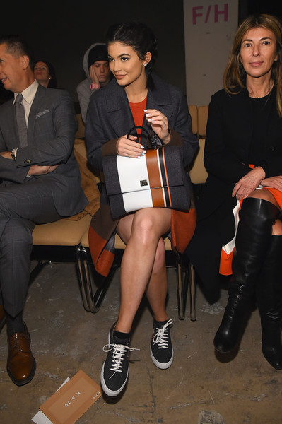 Kylie Jenner Printed Coat [shows,boss womenswear fall 2016,the shows,footwear,fashion,leg,flooring,shoe,girl,product,event,thigh,fun,kylie jenner,boss womenswear,front row,new york city,new york fashion week,fashion show]