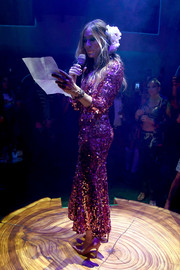 Sarah Jessica Parker sparkled onstage in a pink Dolce & Gabbana sequin dress during the L'Eden by Perrier-Jouet opening.