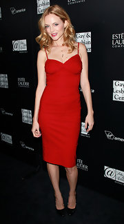 Heather opted for black leather pumps to top off her red hot frock.