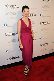Julianna Margulies wore a cranberry dress with a draped cowl neck for the Ovarian Cancer Research Gala.