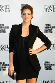 Barbara Palvin showed off her enviable figure in a fitted black blazer at the Melbourne Fashion Festival.
