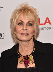 Joanna Cassidy rocked a messy layered razor cut at the LA Art Show opening.