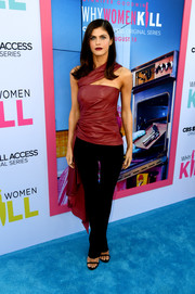 Alexandra Daddario finished off her outfit with a pair of black trousers.