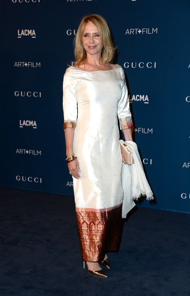Rosanna Arquette looked very classy in a white and bronze silk evening dress at the LACMA Art + Film Gala.
