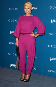 Mary J. Blige brought vibrant color to the LACMA Art + Film Gala in a chic raspberry jumpsuit by Gucci.