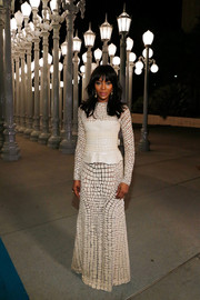Naomi Campbell was a knockout at the LACMA Art + Film Gala in a cream-colored leather-on-tulle gown by Givenchy.